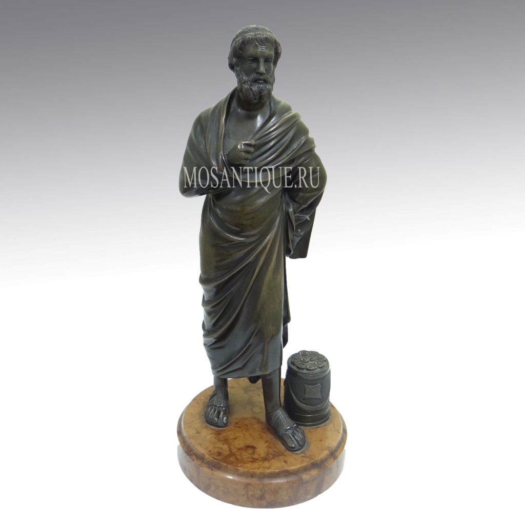 "Композиция из бронзы ""Аристотель"". Antique Aristotle Bronze Statue"