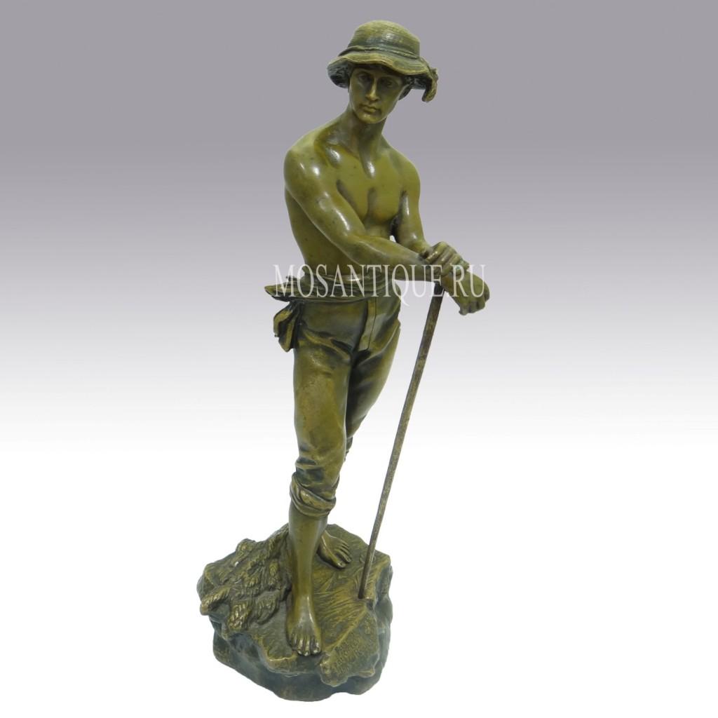 """Старинная бронзовая композиция """"Пастух"""". Antique Bronze Herdsman Statuette"""