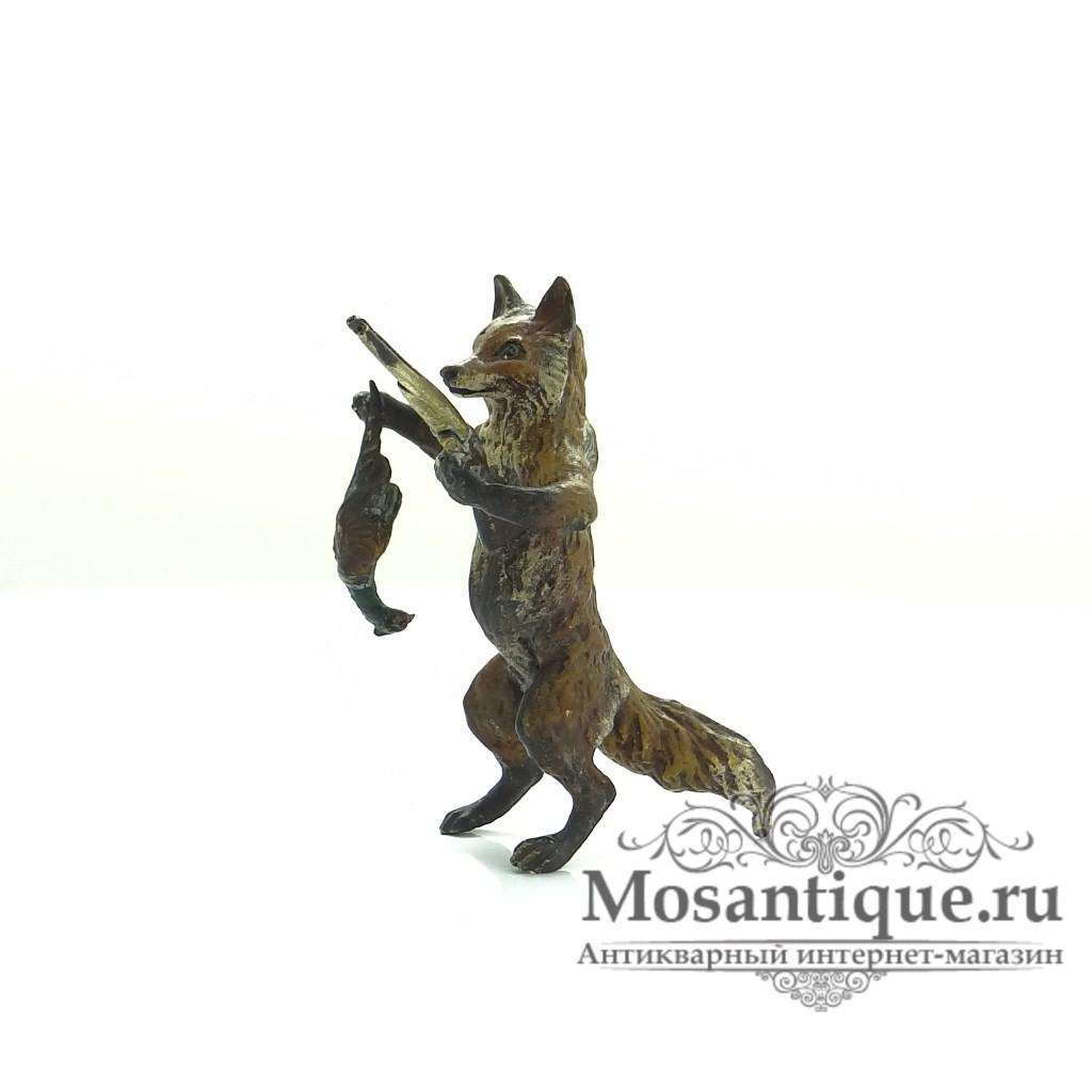 """Венская бронзовая миниатюра """"Лис-охотник с ружьем"""""""