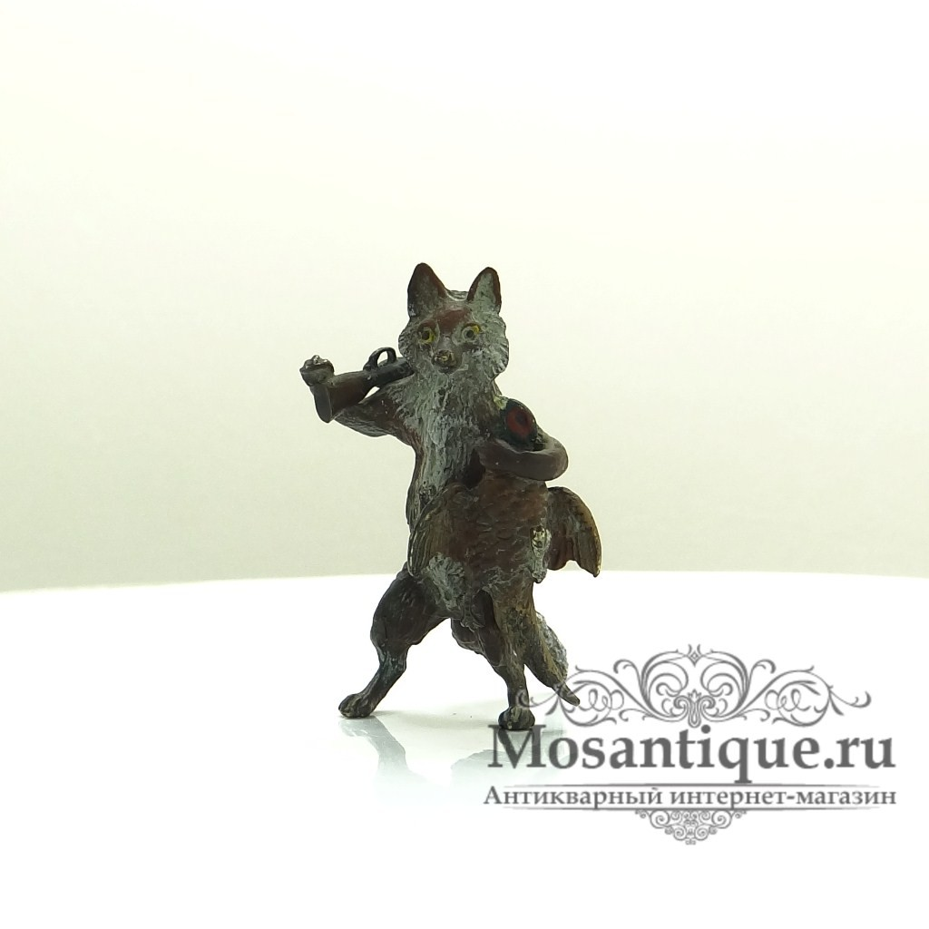 """Венская бронзовая миниатюра """"Лис-охотник с двустволкой и фазаном"""""""
