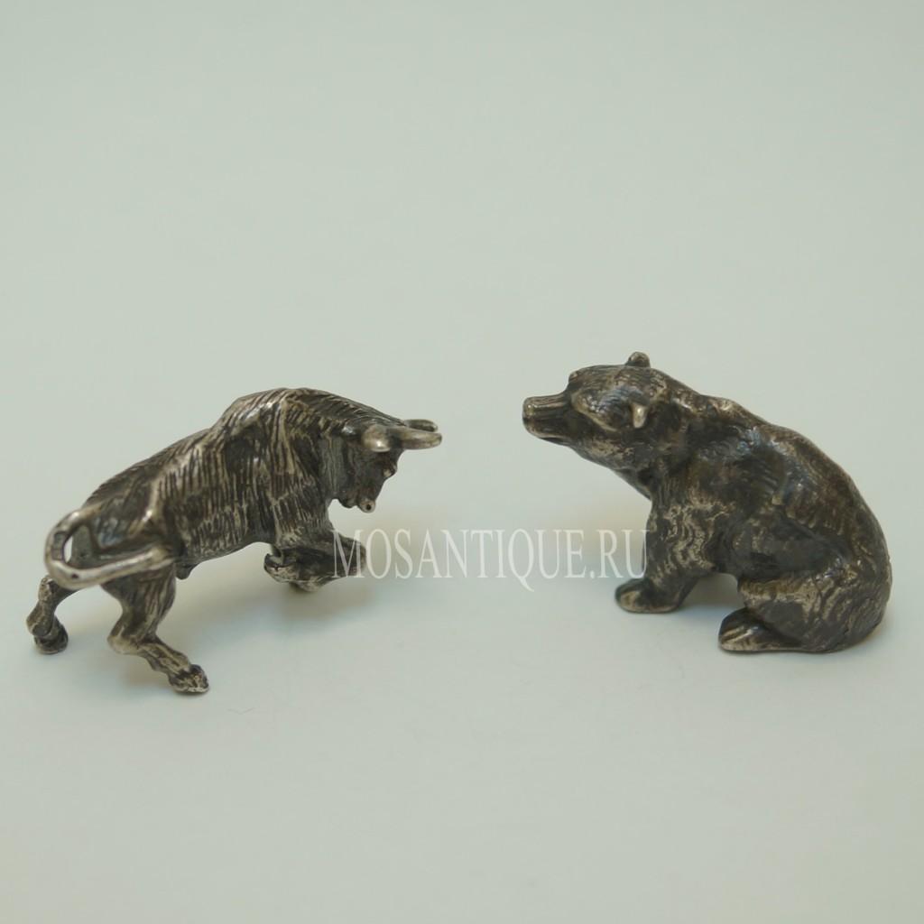 Серебряные Статуэтки Бык И Медведь | Подарок Брокеру