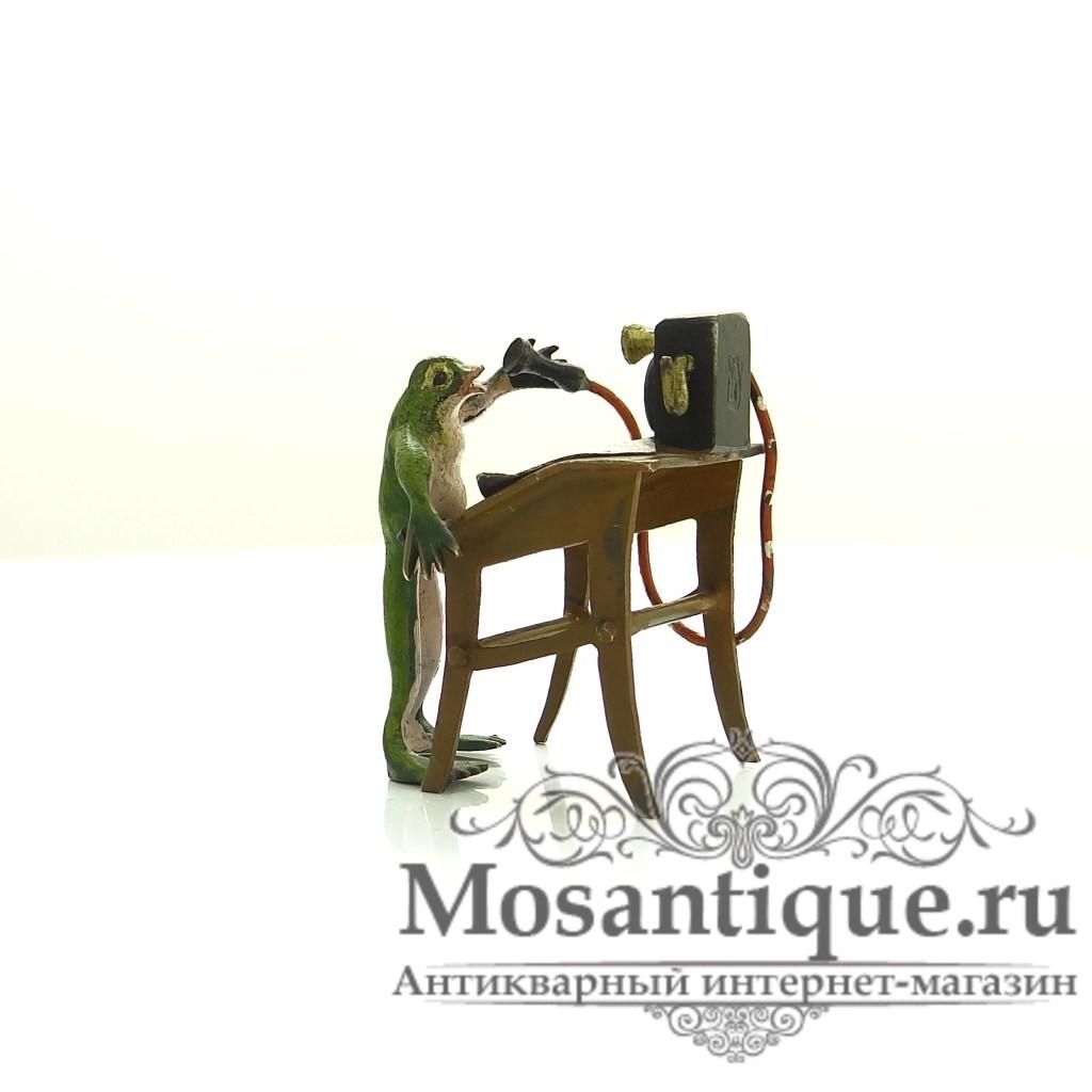 """Венская бронзовая миниатюра """"Лягушка за телефоном"""""""