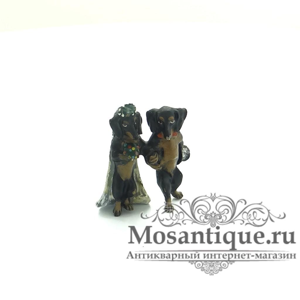 """Венская бронзовая миниатюра """"Свадьба такс"""""""