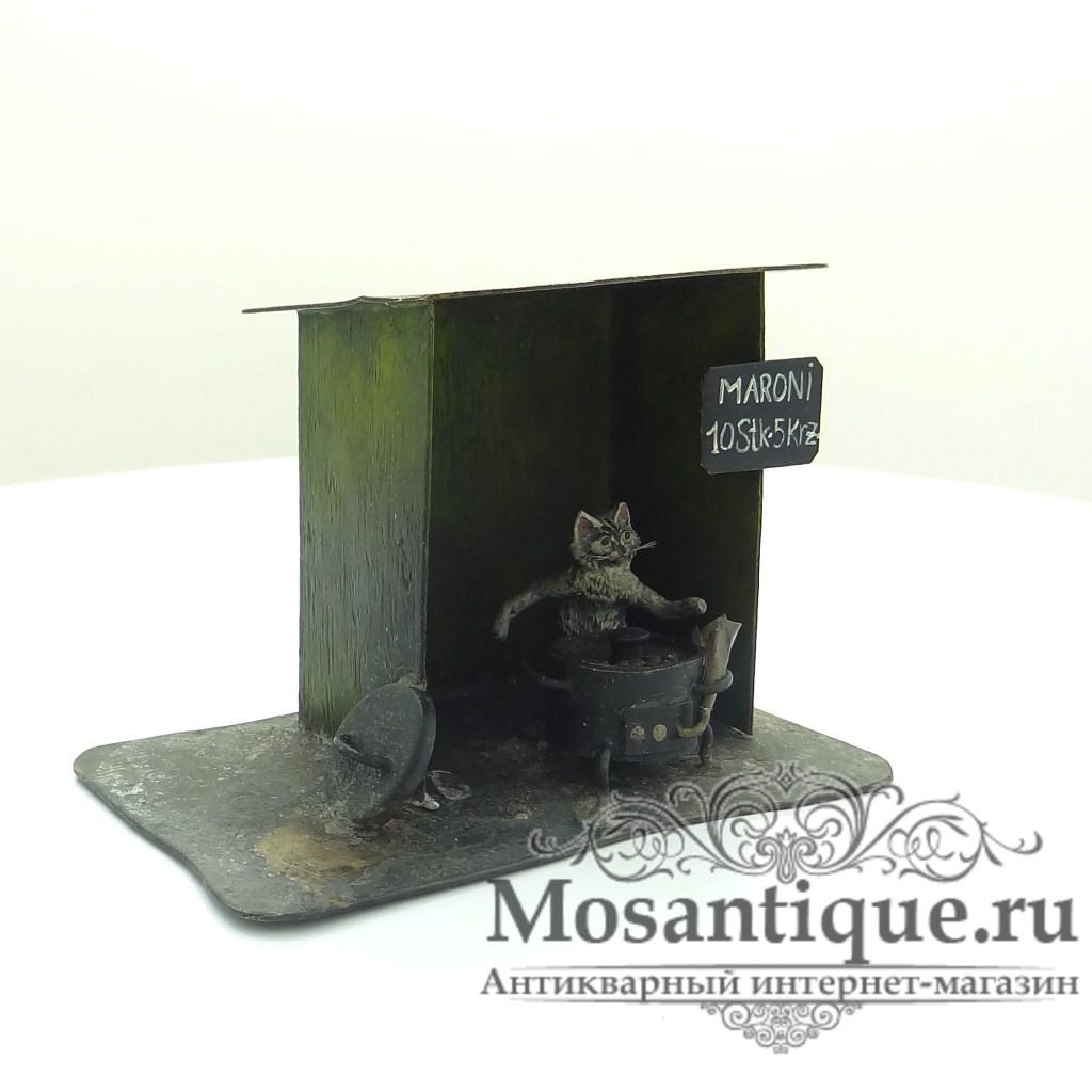 """Венская бронзовая миниатюра """"Кот продает каштаны"""""""