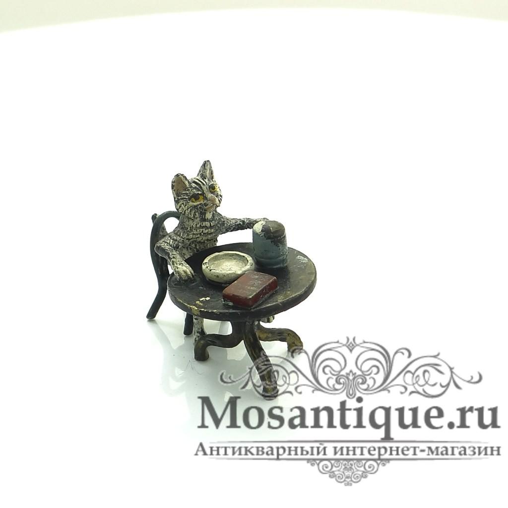 """Венская бронзовая миниатюра """"Кот за кружкой пива"""""""