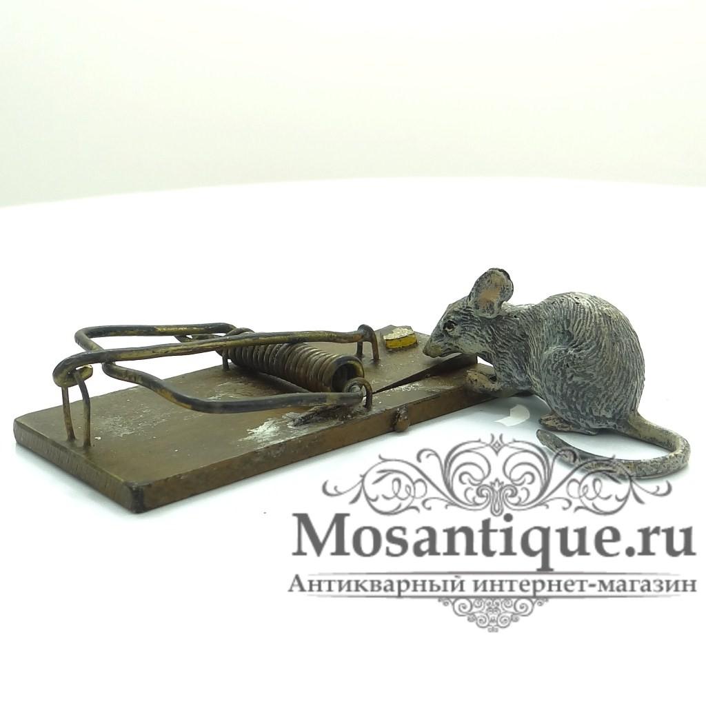 """Венская бронзовая миниатюра """"Мышь с мышеловкой"""""""