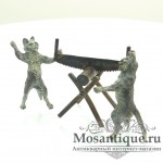 """Венская бронзовая миниатюра """"Коты пилят полено"""""""