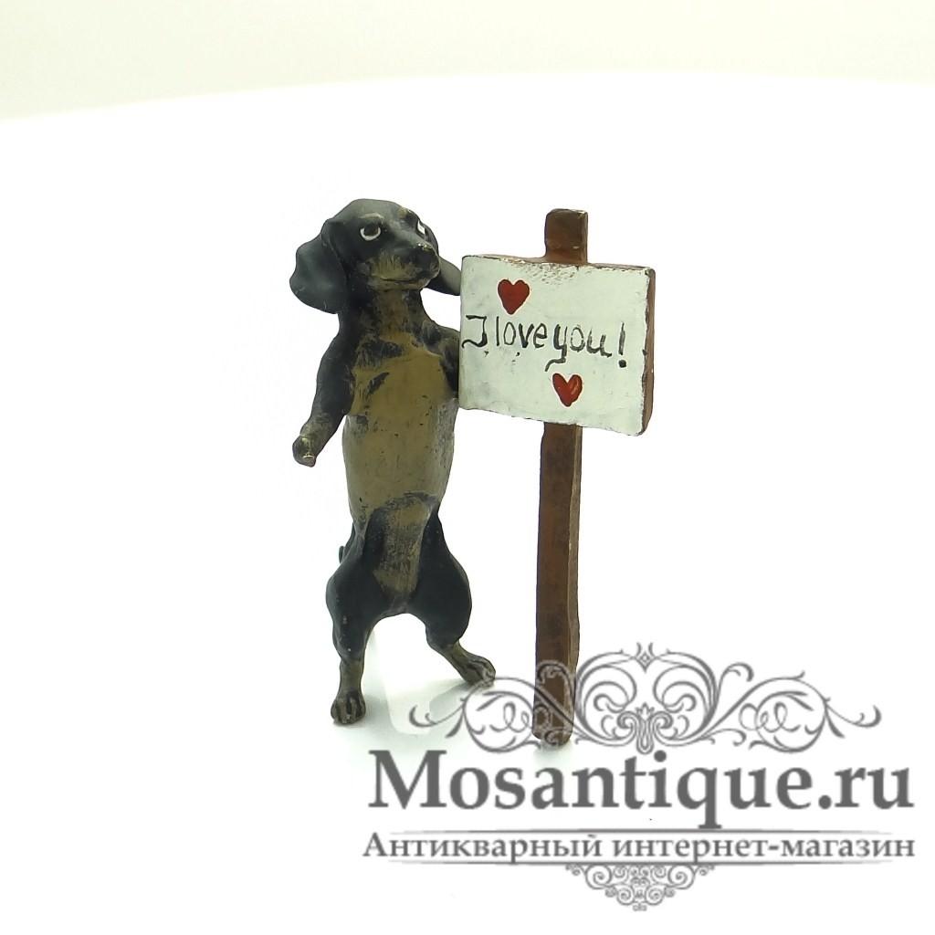 """Венская бронзовая миниатюра """"Такса признается в любви"""""""