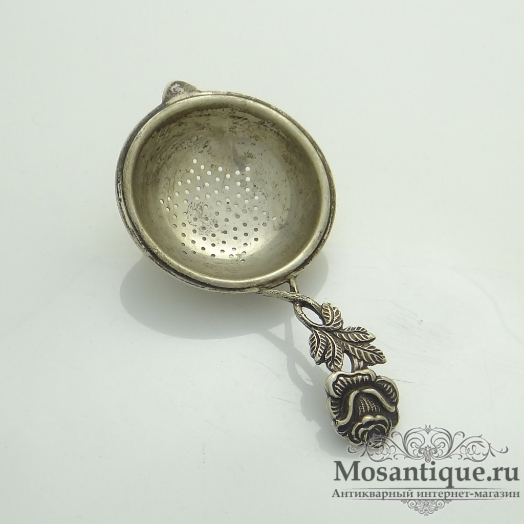 """Антикварная серебряная миниатюра """"Ситечко с розой"""""""