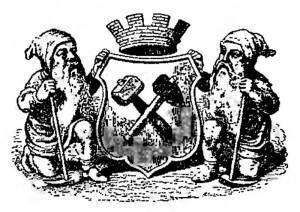 Эмблема горного департамента, Гном с сокровищами. Венская бронза.
