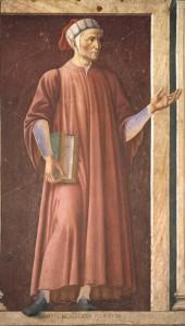 Фотография фрески с изображением  Данте Алигьери