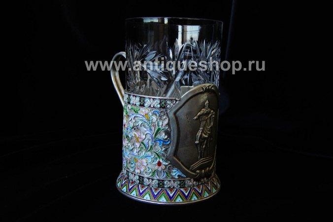 """Эмалированный  подстаканник из серебра """"Юрий Долгорукий"""""""