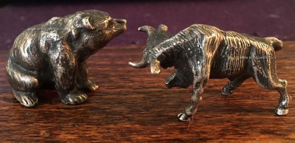 Миниатюры из серебра. Бык и медведь.