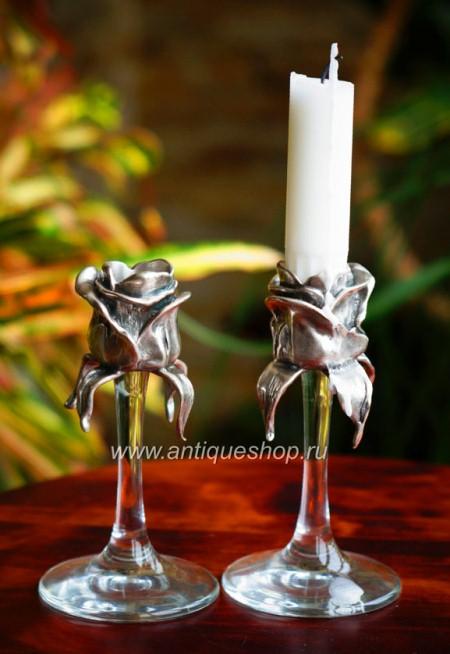 """Серебрёные подсвечники  """"Две розы"""""""