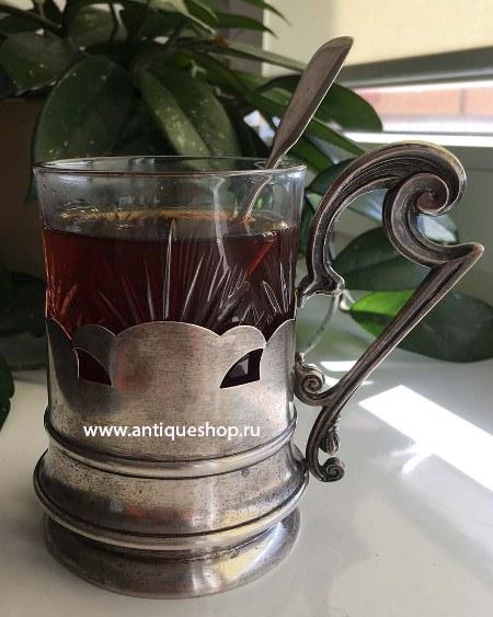 Старинный подстаканник с ложечкой и хрустальным стаканом