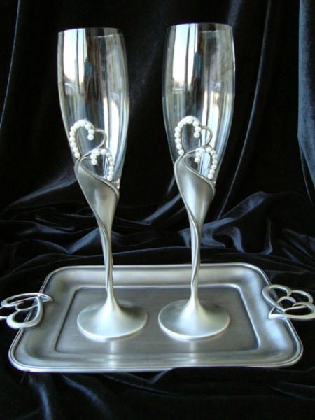 Винтажные свадебные бокалы с подносом