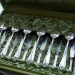 Старинное столовое серебро. Комплект  из 36 предметов.