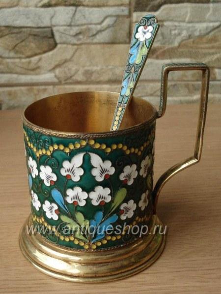 Подстаканник и чайная ложка из серебра