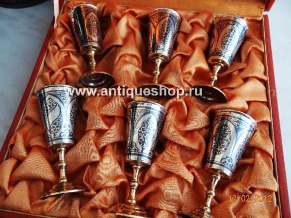 Серебряный набор рюмок с футляром (6 шт)