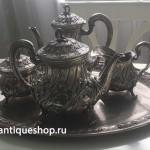 Серебряный чайный сервис с подносом