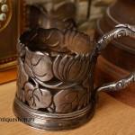 Старинный серебряный подстаканник в стиле модерн
