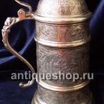 Серебряная пивная кружка в стиле модерн