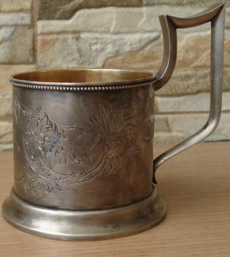 Винтажный серебряный подстаканник