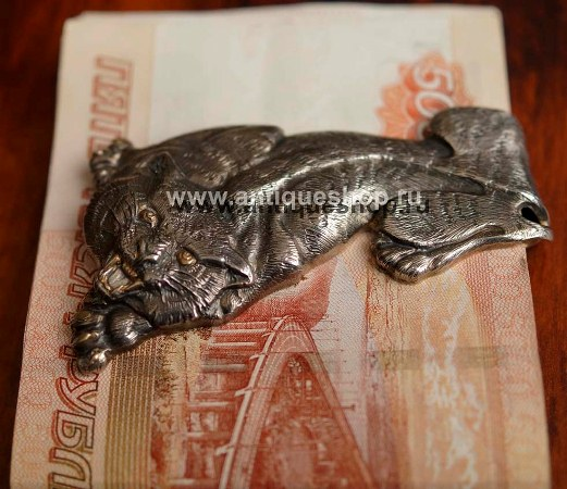 """Серебряная клипса для денег """"Тигр"""""""