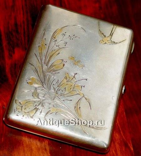 Серебряный портсигар в стиле модерн